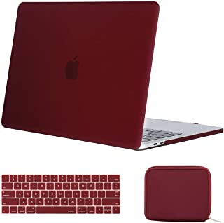 MOSISO MacBook Pro 15 inch Case 2019 2018 2017 2016 Release A1990 A1707, Plastic Hard Case& Keyboard Cover& Water Repellent Neoprene Storage Bag Compatible with MacBook Pro 15 Touch Bar, Marsala Red