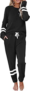 Women's Jogger Lounge Sets 2 Pcs Outfits Sweatsuits Long Sleeve Pullover Sweatpants Loungewear Workout Athletic Tracksuits