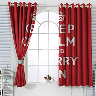 GROGON Grommet Blackout Curtains Keep Calm Red and White Composition with Keep Calm and Carry On Text and a Royal UK Crown Cartoon Printed Nursery Room Dorm Red White W63 xL63