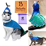 Pet Peacock Costume with Hat for Small Dogs & Cats Blue