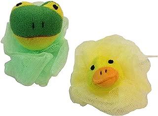 2-Pack Kids Childrens Stuffed Animal Toy Pouf Mesh Bath Shower Sponge Green Frog Yellow Duck