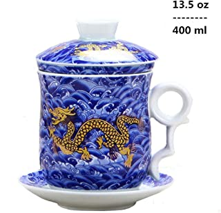 4pcs Set of Chinese Dragon Pattern Tea-Mug with Strainer Infuser and Lid and Saucer Ceramic Tea Mug Convenient System Chinese Porcelain Personal Tea Cup,13.5oz(400ml)/4 Colors (BLUE)
