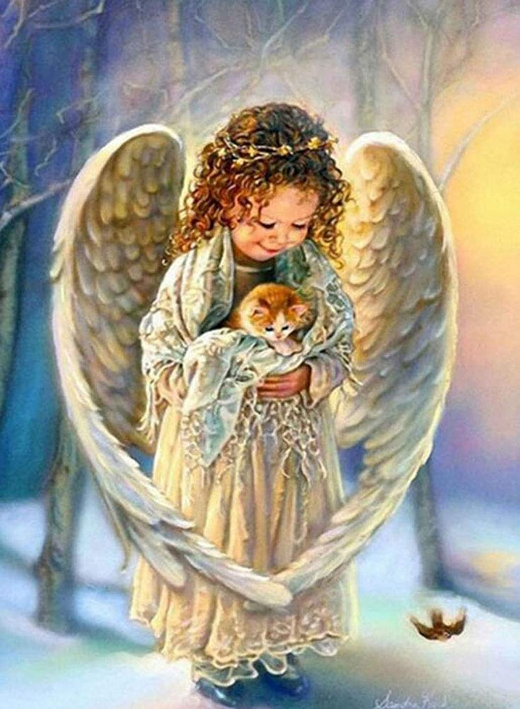 DIY 5D Diamond Painting Angel Wings Kits for Kids Crystal Rhinestone Embroidery Cross Stitch Diamond for Home Wall Decor 9.4X13.4 inches