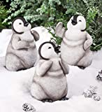 Set of 3 Baby Penguin Figurine Statues, Indoor or Outdoor Yard and Garden Decor - 8.27 L x 6.69 W x 11.81 H