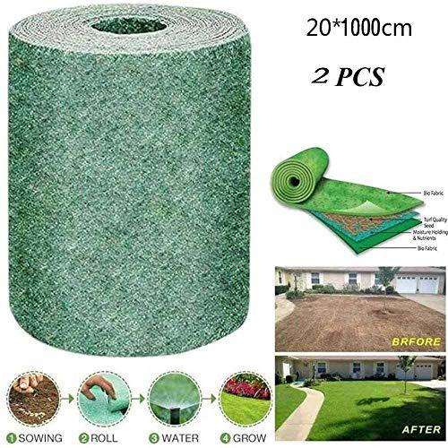 20 x 1000 cm biologisch abbaubare Grassaat-Matte, Pflanzen-Kapillar-Matte für Rasen, Samen-Starter-Matte, Gras-Pads, Rasensamen-Decke für Haus und Garten (2 Stück)