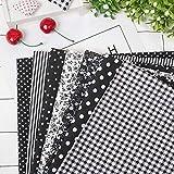 TOPINCN 7Pcs 50 * 50Cm Cotton Fabrics Floral Dots Assorted Squares DIY Pre-Cut Quarters Bundle Patchwork Home Textile for Sewing Quilting (Black)