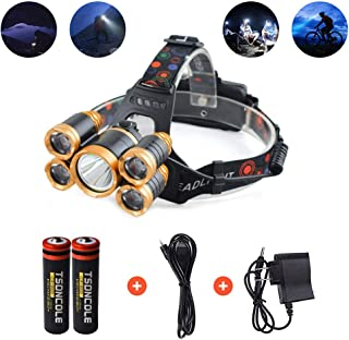 Waterproof 12000 Lumen 5 Led Headlamp 1T6 4XPE+4Q5 Head Lamp Powerful Led Headlight, 18650 Rechargeable Batteries, Car Charger, Wall Charger (Gold)