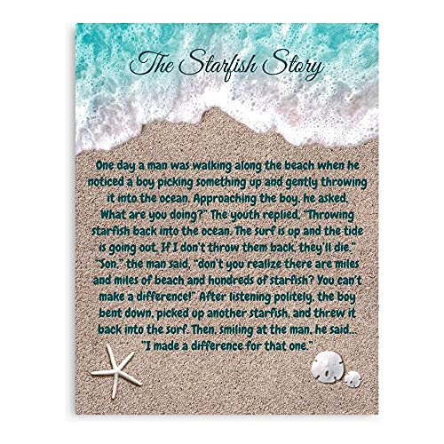 Star Poem Starfish Fish Motivational Inspirational Story Quote Canvas Wall Art Printed Modern to Decoration for Living Room, Bedroom, Kitchen, Office, Hotel, Dining Room, Office, Bathroom, Bar Etc