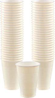 Amscan 436801-57 Creme Plastic Cups Value Pack 473ml-50 Pcs, Vanilla Crème, 16 Ounce