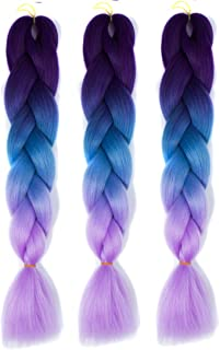 60 cm Chemical Fiber Synthetic Braiding Wigs for Women Human Hair Extensions Braid Hair for Color Gradient Wig Extensions,Hairpieces (Color : Black Lake Blue Light Purple)