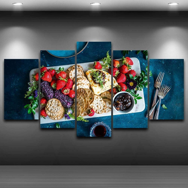 marcas en línea venta barata YHEGV Impresiones En Lienzo Decoración Decoración Decoración para el Hogar Moderno Lienzo Fotos HD Impreso Cochetel de la Cocina 5 Unidades Frutas Alimentos Galletas Pintura Salón Arte de la Parojo  hasta un 60% de descuento