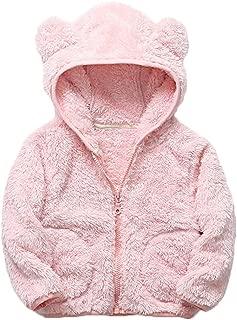 Baby Girls Bear Ears Fleece Warm Hoodies Jacket Zip-up Hooded Sweatshirt Outwear with Pocket