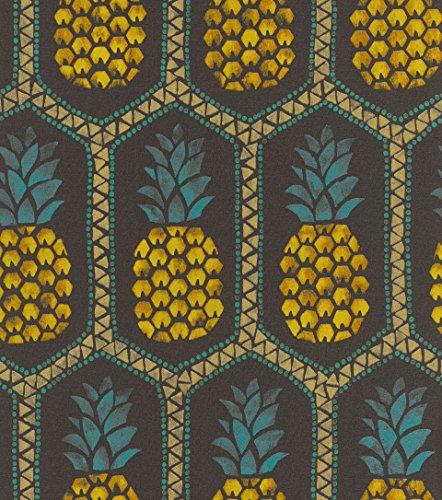 Snel behang uit de collectie b.b home passion VI - vliesbehang met ananas-patroon - 10,05 m x 53 cm (L x B) Natuur 10, 05M x 0, 53M (LxB) zwart