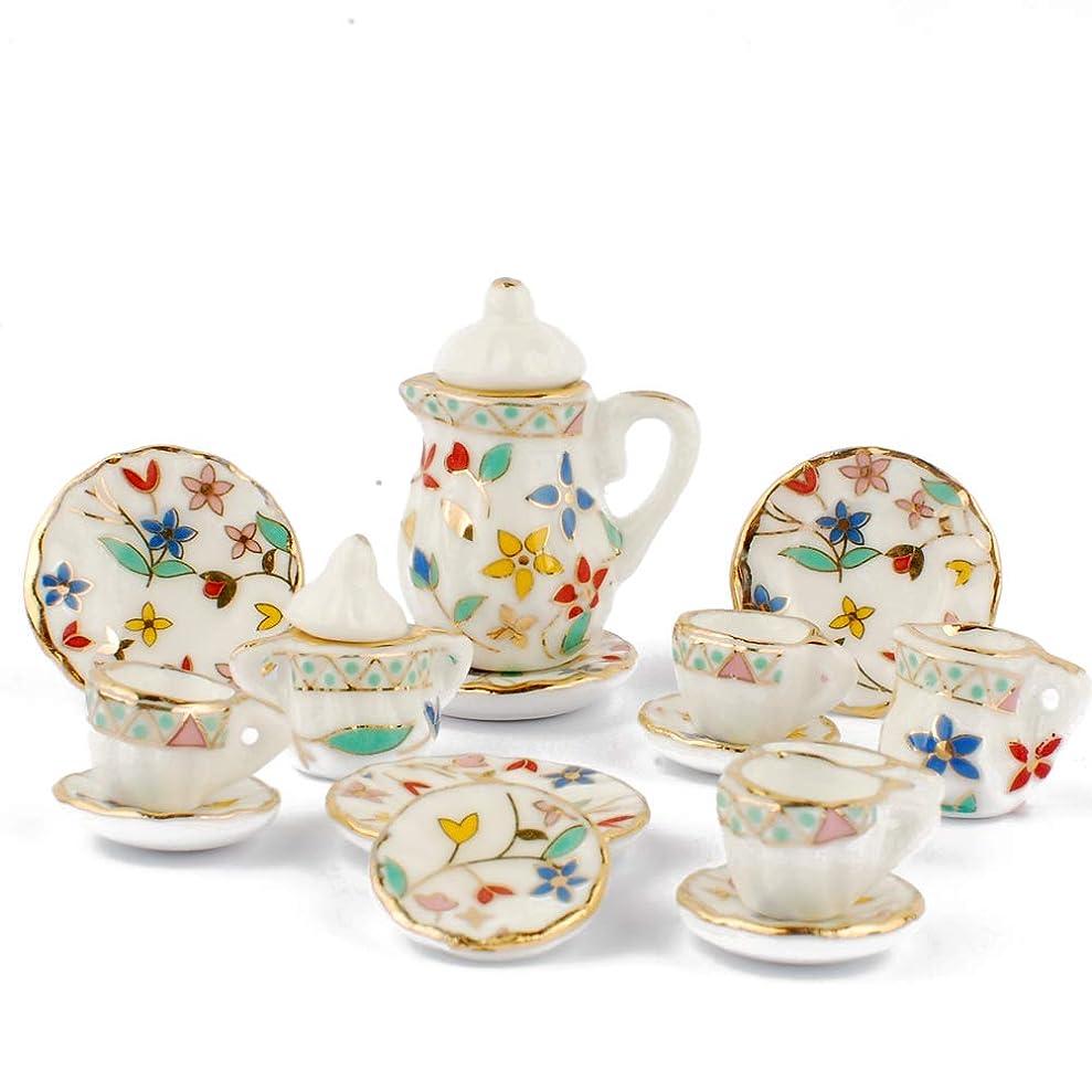 類推はっきりしないトロリーNW 1 Set 15 pieces Flowers Pattern Ceramics Tea Cup Set Lovely Dollhouse Decoration Set Dollhouse Kitchen Accessories