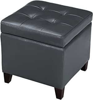 Joveco Storage Ottoman Leather Button Tufted Square Footrest Bench