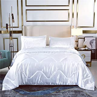 Luxury Soft Silky Satin Comforter Set Quilted Duvet with Matching Pillow Cover (White, Twin)