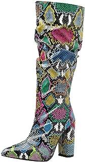 Yowablo Bottes Femmes Serpent coloré Talon Haut Botte épaisse Chaussures zippées Pointues Bottes Souples