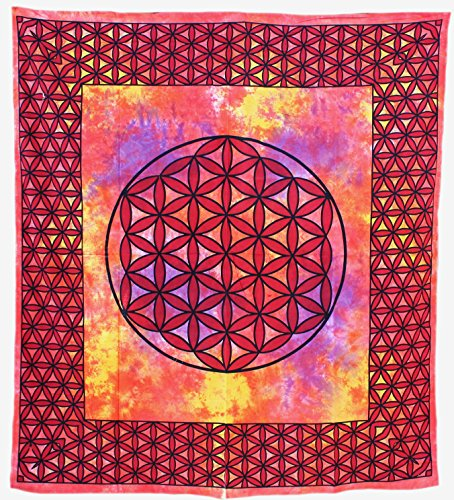 Budawi® - Traditional India Wall Hangings Blume des Lebens 2,10 x 2,45 m Wand-Tücher, Wandtuch, Bedcover