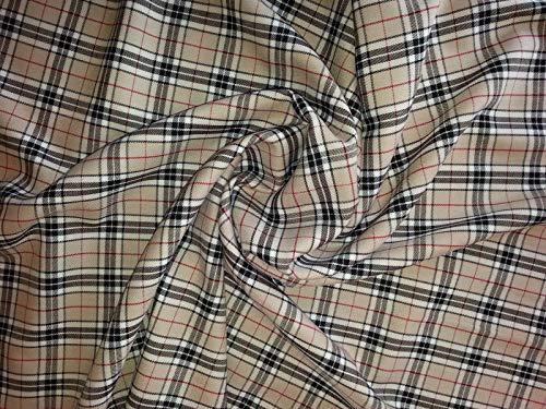 Minerva Crafts Kleiderstoff, Burnberry Plaid Karo, Polyester, Tartan, Beige, Schwarz und Rot, Meterware