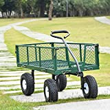 Ollieroo Utility Wagon Farm and Ranch Heavy-Duty Steel Garden Cart with Removable Folding Sides and 10' Pneumatic Tires 660Lb Capacity 38'x20' Bed Powder Coated Green Finish