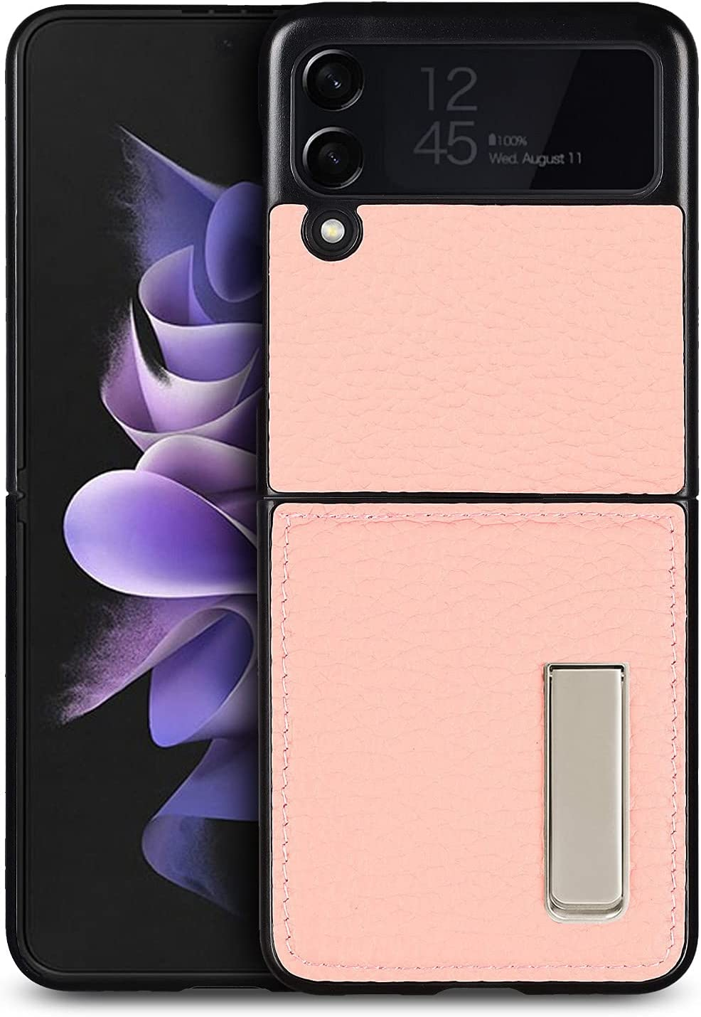 iCoverCase Designed for Samsung Galaxy Z Flip 3 5G Case (2021) with Stand, Magnetic Kickstand Ultra-Thin Genuine Leather Protective Case - (Rose Gold)