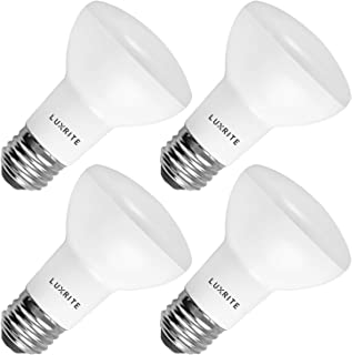 4-Pack R20 LED Bulb, Luxrite, 45W Equivalent, 3500K Natural White, Dimmable, 460 Lumens, BR20 LED Flood Light Bulb, 6.5W, E26 Medium Base, Damp Rated, Indoor/Outdoor - Recessed and Track Lighting
