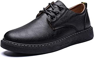 Sygjal Men's Fashion Oxford Casual And Comfortable Lace Up Simple Low Top British Style Formal Shoes (Color : Black Khaki, Size : 43 EU)