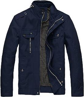 Wantdo Men`s Cotton Stand Collar Lightweight Front Zip Jacket