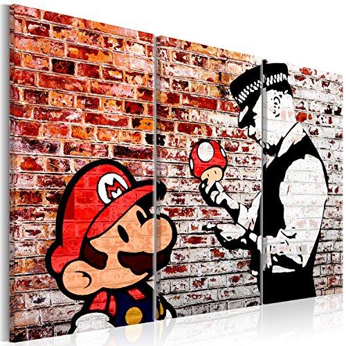 murando - Bilder Banksy Super Mario Mushroom Cop 90x60 cm Vlies Leinwandbild 3 Teilig Kunstdruck modern Wandbilder XXL Wanddekoration Design Wand Bild - Street Art Graffiti Urban Ziegel i-C-0119-b-e