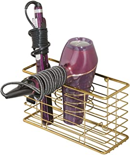 mDesign Farmhouse Metal Wire Bathroom Wall Mount Hair Care & Styling Tool Organizer Storage Basket for Hair Dryer, Flat Iron, Curling Wand, Hair Straightener, Brushes - Holds Hot Tools - Soft Brass