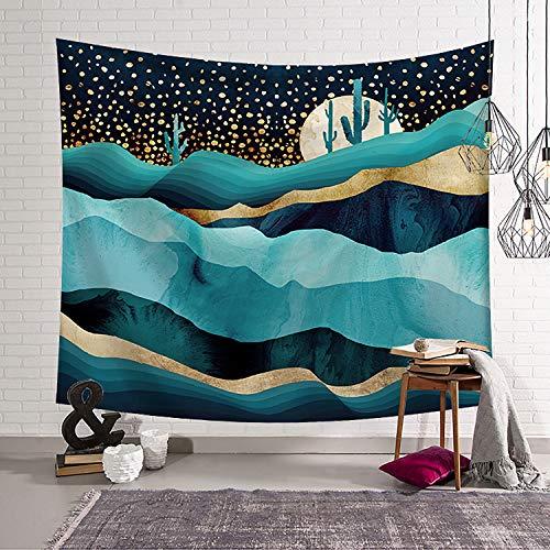 NRANSON Sternenhimmel Kaktus Wandteppich Blue Moon Mountain Natur Landschaft Kunst Wandteppich Wandbehang für Wohnzimmer Schlafzimmer Wohnheim (150x200cm)