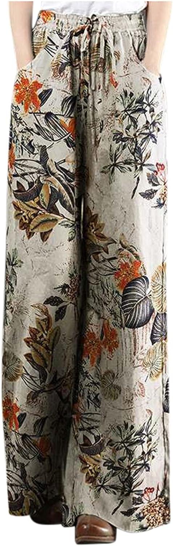 Oillian Linen Pants for Women Women's Summer Cotton Linen Pants Cropped Wide Leg Trousers Pants 2021
