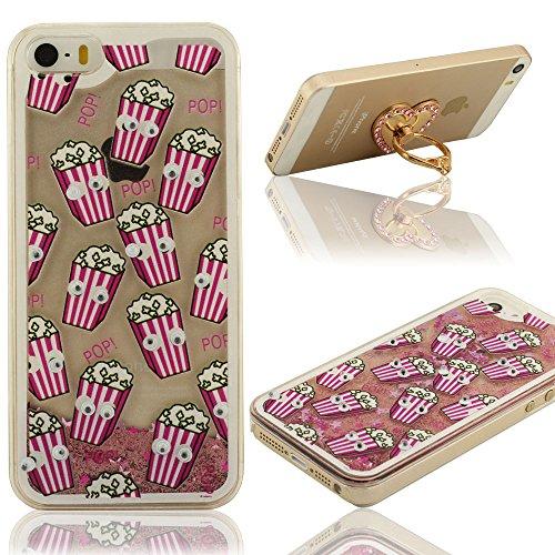 Sconosciuto Creativo Unico Galleggiante Colorato Sabbia Design Trasparente iPhone 5 / iPhone 5S Custodia + Anello Titolare, Case Cover Protettore per iPhone 5 5S 5G, Popcorn Moving Occhi Design