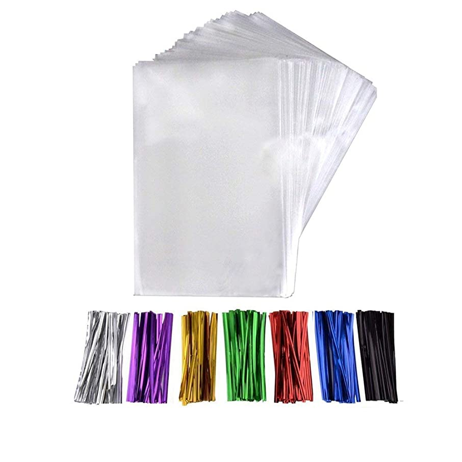 200 Pcs 6 in x 4 in(1.4mil.) Clear Flat Cello Cellophane Treat Bags Good for Bakery, Cookies, Candies,Dessert with five random color Twist Ties!