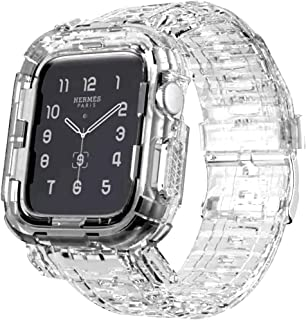 Transparent Silicone Clear Watch Band & Case Size (44 mm) Shockproof For Apple Watch Series 4/5/6/SE - Pure Transparent