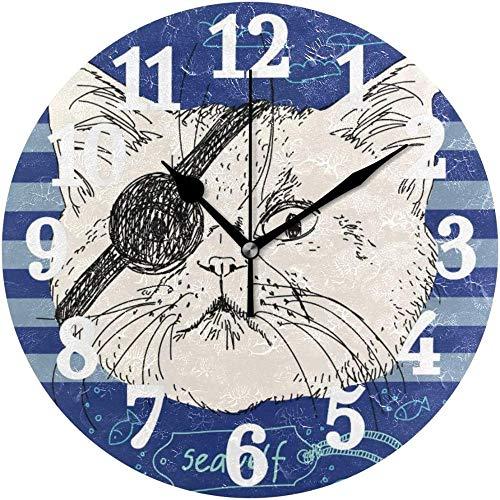 SXXXIT Reloj de Pared Redondo Pirate Cat Sea Wolf Blue Anchor Home Art Decor Reloj para Oficina en casa