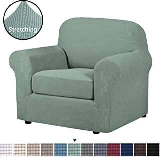 H.VERSAILTEX 2-Piece Spandex Stretch Sofa Slipcover for Chair, Anti-Slip Rich Lycra Knitted Jacquard Sofa Cover Machine Washable Furniture Protector, Cyan, 1 Seater