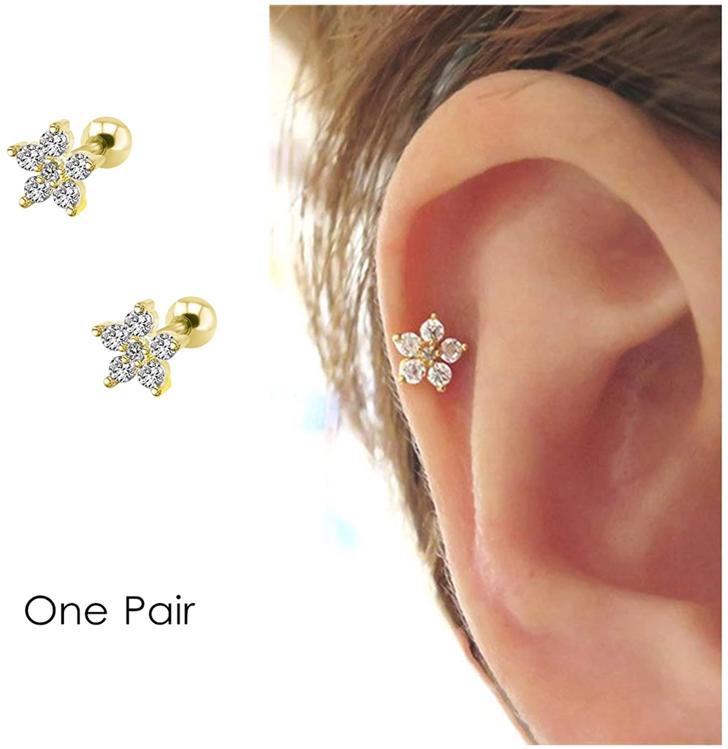 Flower Cartilage Earring CZ Stud Mini Earrings Sale price Earr Free Shipping New Small Tragus
