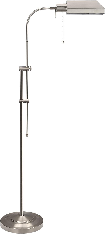 Kira Home Prescott 58  Adjustable Standing Pharmacy Floor Lamp, Brushed Nickel Finish, Includes 6W LED Bulb (60W eq.) Energy Efficient, Eco-Friendly