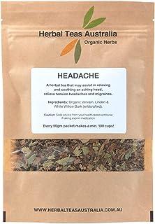 Herbal Teas Australia Organic 'HEADACHE' Tea 50gm - Organic Herbal Tea with White Willow Bark/min 100 cups from every packet