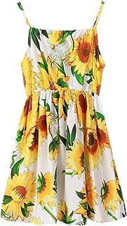 SHOOYING Girl's Floral Dress Spaghetti Strap Sleveeless Hawaiian