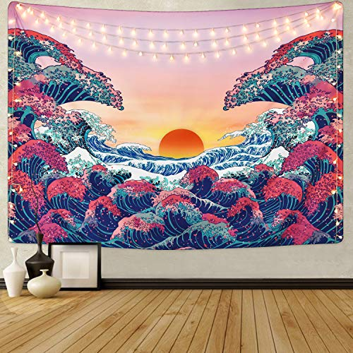 Ocean Wave Tapestry Sunset Tapestry 3D Great Wave Tapestry Japanese