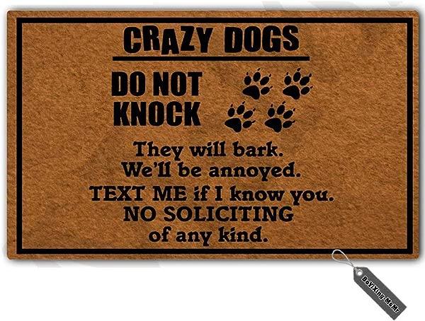 MsMr Dog Lover No Soliciting Doormat Welcome Doormat Entrance Floor Mat Decorative Indoor Outdoor Door Mat Non Slip Non Woven Fabric Doormat 23 6 X15 7
