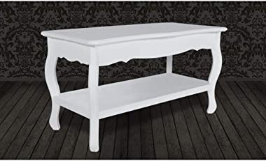 Daonanba Modern Coffee Table for Living Room Bedroom White