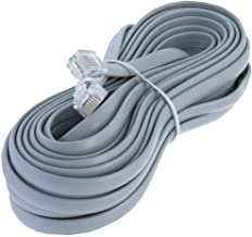 14ft Heavy Duty RJ12 Silver Satin 6 Conductor 6P/6C Telephone Line Cord by Corpco