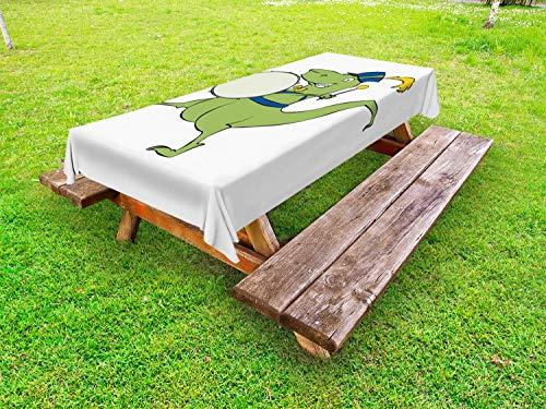 ABAKUHAUS drums Tafelkleed voor Buitengebruik, Happy Green dinosaurus het spelen, Decoratief Wasbaar Tafelkleed voor Picknicktafel, 58 x 120 cm, Wit Blauw Geel