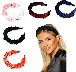 Headbands for Women Velvet Headbands Ruched 5 pack Padded Vintage Twine Thick Fashion Hairband for Ladies Girl Hair Bands