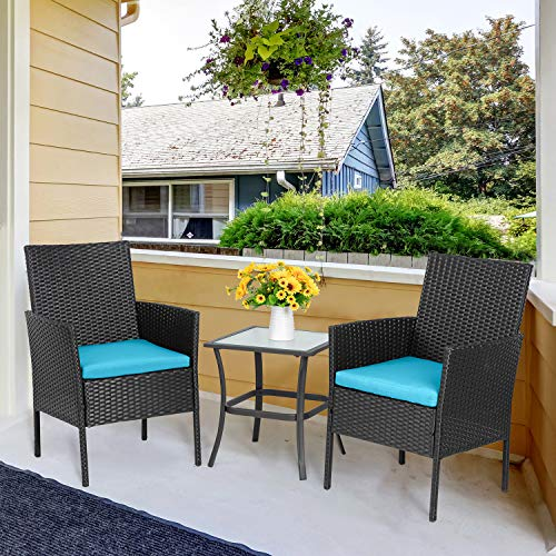 Vongrasig 3Piece Porch Furniture Sets Small Outdoor Black Wicker Rattan Patio Bistro Set Cushioned Patio Chairs Set of 2 w/Glass Table for Lawn Garden Backyard Patio Conversation Set Blue