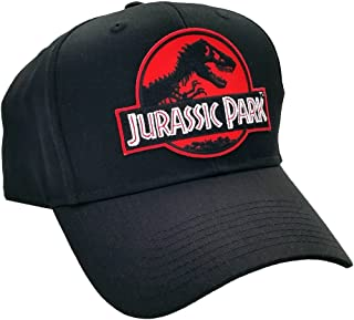 Jurassic Park Movie Red Sci-Fi Logo Patch Snapback Cap Black Hat by Project T