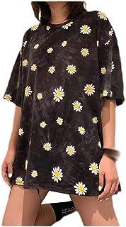 neveraway Women Crewneck Short-Sleeve Floral Printed Blouse Casual T-Shirt